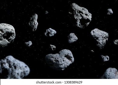Meteorites in deep space, science fiction fantasy background.