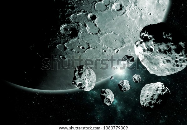 Meteorites pieces from the moon Deep space image, science fiction fantasy ideal for wallpaper and print. Elements of this image furnished by NASA