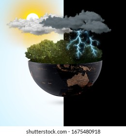 Meteorological day, World Meteorological day, March 23. Greeting card, Icon in the linear style, meteorology presentation, Windy day phenomenon, tree moving from the wind on Blue sky & sunlight - Shutterstock ID 1675480918