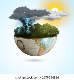 Meteorological day, World Meteorological day, March 23. Greeting card, Icon in the linear style, meteorology presentation, Windy day phenomenon, tree moving from the wind on Blue sky & sunlight - Shutterstock ID 1679534926