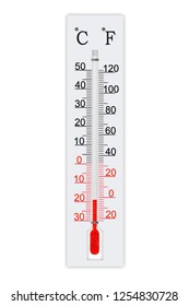 Meteorology thermometer isolated on white background. Thermometer shows air temperature minus 19 degrees celsius or minus 2 degrees fahrenheit