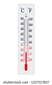 Meteorology thermometer isolated on white background. Thermometer shows air temperature minus 13 degrees celsius or plus 9 degrees fahrenheit