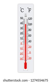 Meteorology thermometer isolated on white background. Air temperature plus 40 degrees celsius