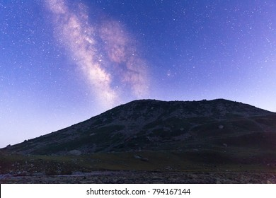 Meteors & Milky way galaxy as seen from Gangabal Campsite on the Kashmir great lakes trek at Sonamarg, Jammu and Kashmir, India. Sky full of Stars, Astro photography, Camping under the stars