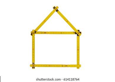 meter ruler folded as house