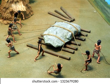 method of moving big rock by man power in ancient age