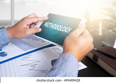 METHODOLOGY man using tablet computer, Marketing data paper3