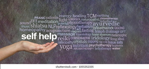 Methods for Self Help Word Tag Cloud - female open cupped hand with the words SELF HELP floating above surrounded by a relevant word tag cloud on a rustic stone effect dark background
