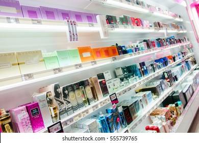 METKOVIC, CROATIA - JANUARY 14, 2017: Perfumes and cosmetics on the shelves at drugstore in Metkovic, Croatia