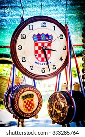 METKOVIC, CROATIA - JULY 20: Souvenirs with Croatian simbols on sale at the fair in Metkovic, Croatia on July 20, 2011.