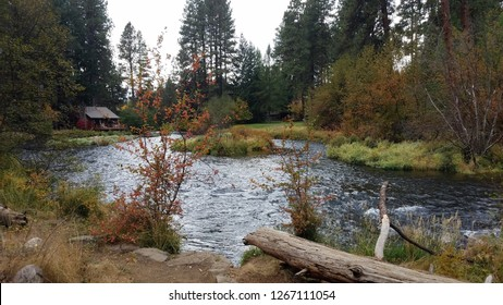 Metolius river in Camp Sherman Oregon and cabin