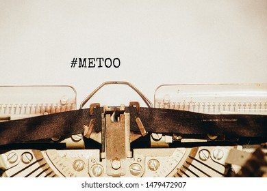 "Metoo concept. ""Metoo"" hashtag coming out of typewriter."