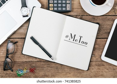 MeToo hashtag in note book or diary as part of anti sexual harassment and assault social media internet campaign protests
