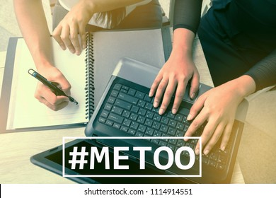 MeToo hashtag on workplace background. new movement. As part of anti sexual harassment.