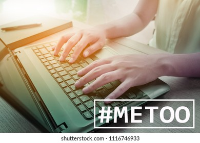 MeToo hashtag on workplace background. #metoo as a new movement. As part of anti sexual harassment.