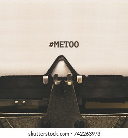 MeToo hashtag from popular anti sexual violence internet protest campaign on paper in vintage type writer