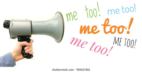 Metoo me too #metoo Yelling to megaphone phrases from Me too campaign about against sexual harassment. The oscars 2018 against the sexual harassment for women and men.