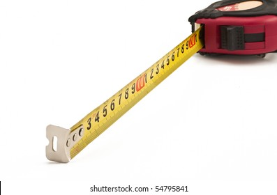 Metric tape-measure isolated on white