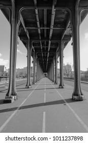 Metro bridge across the Seine in Paris