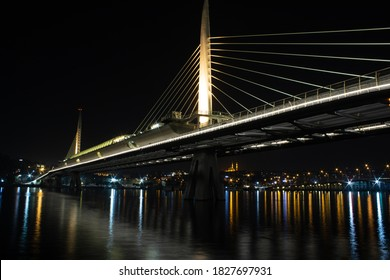 Haliç Metro Bridge and lights reflecting onto the sea