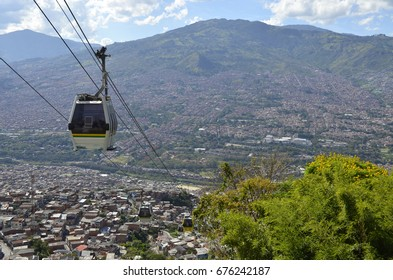 Metro Cable Car Descending Into Medellín - February 2017 - Medellin, Colombia