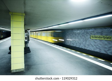 Metro coming to station, Berlin