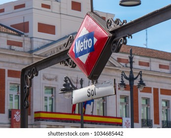 Metro Entrance Sol in Madrid at Puerta del Sol square - a popular place in the city