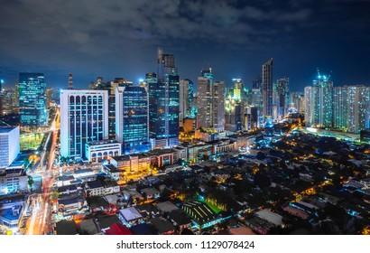 Metro Manila cityscape at night