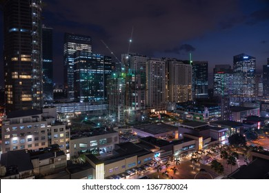Metro Manila / Philippines - April 2019: Bonifacio Global city skyline at Magic hour. Bonifacio Global City or BGC, is a financial and lifestyle district in Metro Manila, Philippines.