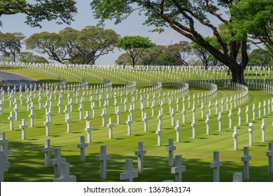Metro Manila / Philippines - April 2019: The Manila American Cemetery and Memorial has the largest number of graves of any cemetery for U.S. personnel killed during World War II.