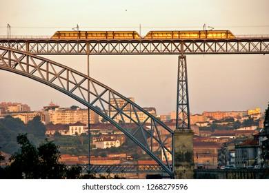 Metro over Bridge Luis I in Porto, Portugal