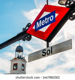 Metro sign on the Gate of Sun Square in Madrid city, Spain.