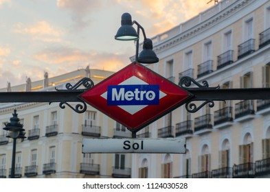 Metro Sol. Puerta del Sol. Typical metro sign in the city of Madrid. the best underground transport for tourist