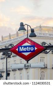 Metro Sol. Typical metro sign in the city of Madrid. Puerta del Sol. Callao