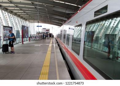 metro station in Dalian, China. Modern Architecture of light rail station. urban public transport. Travel in China. Dalian, China - august 12, 2018