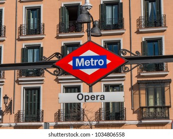 Metro station Opera in Madrid at Isabel II square - MADRID / SPAIN - FEBRUAR 21, 2018