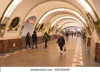 Metro station Ploshchad Vosstaniya view from the inside .Russia, St. Petersburg, Metro station Vosstaniya square, March 8, 2018. EDITORIAL
