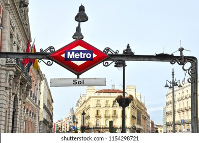 Metro station sign in Plaza del Sol (Puerta del Sol) central square in Madrid Spain.