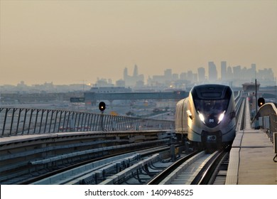 Metro Train arriving at Wakra Metro Station in Doha, Qatar - 05/28/2019