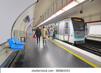 metro train in Paris, France.
