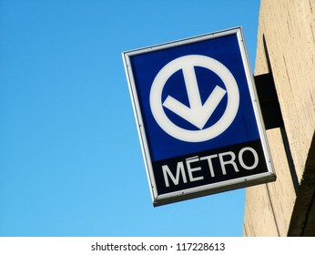 Metro transit sign in Montreal, Canada