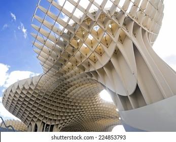 metropol metrosol structure in sevilla  spain view from below