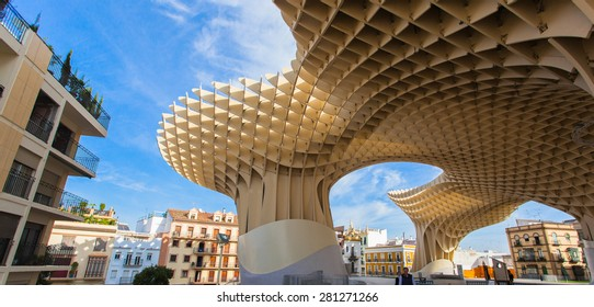 Metropol Parasol, Seville, Spain. - october 10, 2014 : Metropol Parasol designed by the German architect Jurgen Mayer-Hermann is a wooden structure located in the old quarter of Seville, Spain.