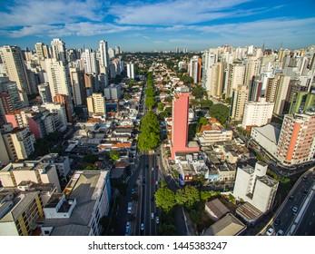 Metropole view from above. Aerial view of Sao Paulo city, Brazil South America. Pacaembu Avenue. Via Elevado President Joao Goulart. Neighborhood of Perdises and Barra Funda.