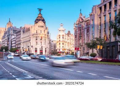 Metropolis Building or Edificio Metrópolis office building in Gran Vía avenue in Madrid, Spain.