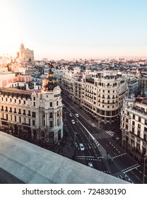Metropolis building in Gran Via. Madrid at sunset (Spain)