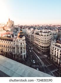 Metropolis building in Gran Via. Madrid at sunset (Spain)