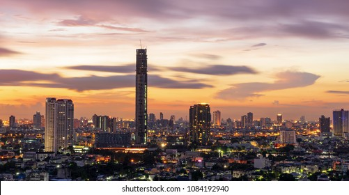 metropolis cityscape on sunrise twilight skyline and cloudscape in morning background