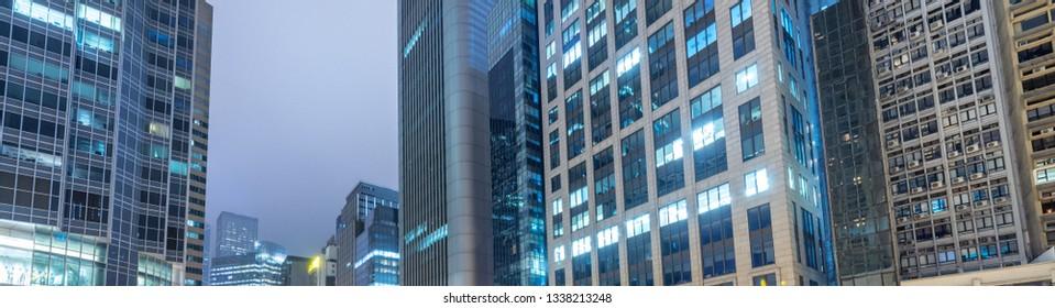 Metropolis skyscrapers, modern buildings panorama at night.