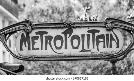 Metropolitain sign - the Paris underground metro station - PARIS / FRANCE - SEPTEMBER 24, 2017
